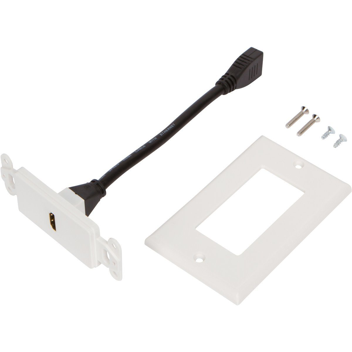 HDMI Wall Plate [UL Listed] with 6-Inch Pigtail (White) (100 Pack)