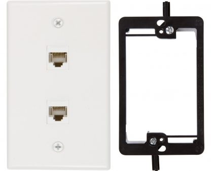 2 Port Cat6 Wall Plate, Female-Female With Mounting Bracket