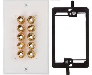 Five Speaker Wall Plate, With Single Gang Low Voltage Mounting Bracket Device