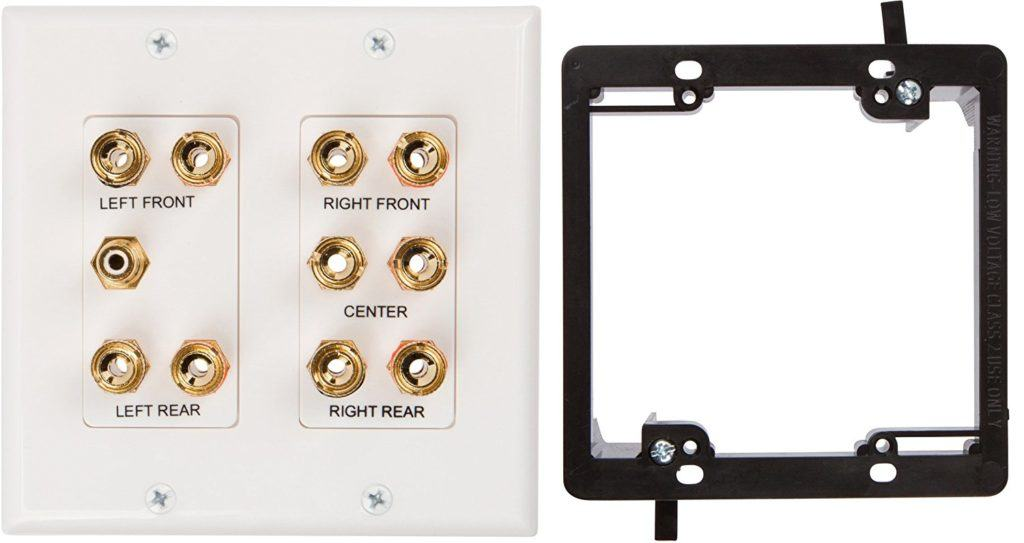5.1 Speaker Wall Plate, Coupler Type, With 2 Gang Low Voltage Mounting Bracket Device