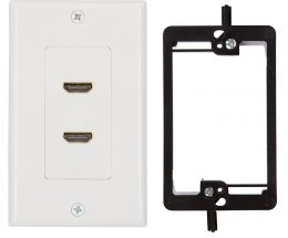 HDMI Wall Plate (2 Port) Insert with 6-Inch Built-In Flexible Hi-Speed HDMI Cable (White)
