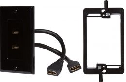 HDMI Wall Plate (2 Port) Insert with 6-Inch Built-In Flexible Hi-Speed HDMI Cable (Black)
