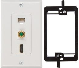 HDMI Coax Ethernet Wall Plate with Single Gang Low Voltage Mounting Bracket Device (White Kit)