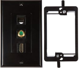 HDMI Coax Ethernet Wall Plate with Single Gang Low Voltage Mounting Bracket Device (Black Kit)