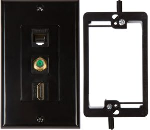 HDMI Coax Ethernet Wall Plate with Single Gang Bracket Device