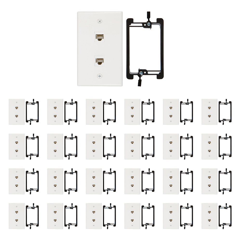 purchase 2 port cat6 wall plate with mounting bracket
