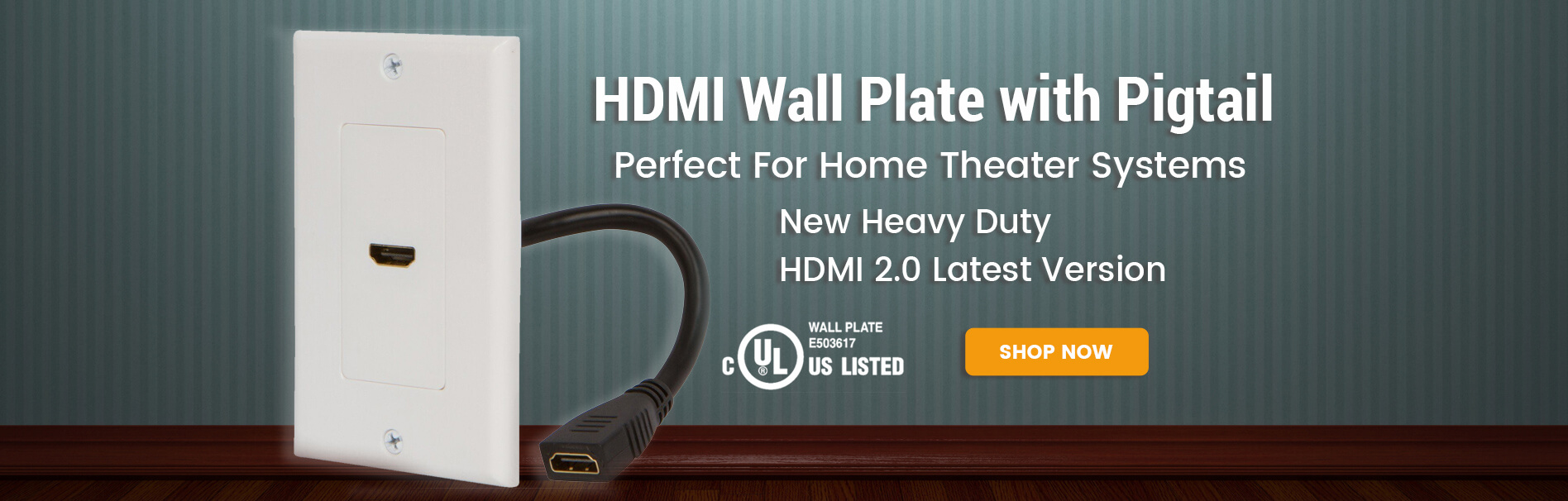 HDMI Wall Plate with Pigtail HDMI 2.0