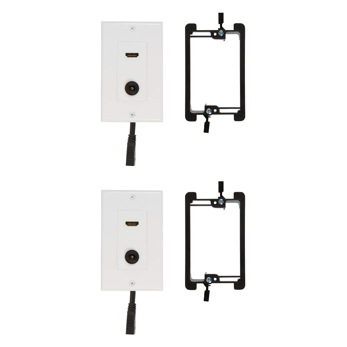 hdmi toslink wall plate with single gang low voltage mounting bracket device  2 pack